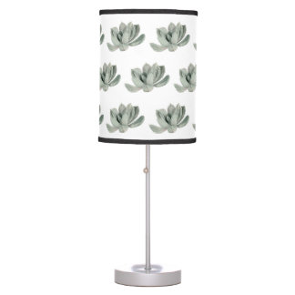 Succulent Plant Watercolor Painting Pattern Table Lamp