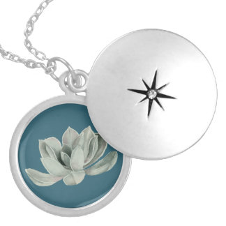 Succulent Plant Watercolor Painting Silver Plated Necklace