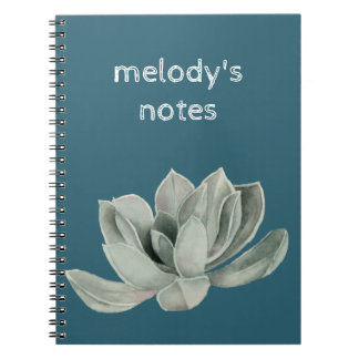 Succulent Plant Watercolor Painting Spiral Notebook