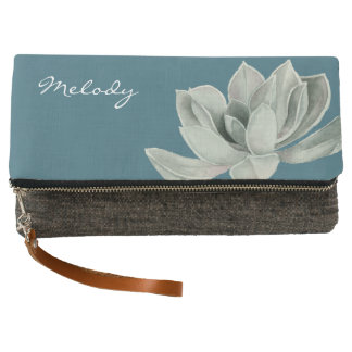Succulent Plant Watercolor Painting with Name Clutch