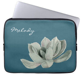 Succulent Plant Watercolor Painting with Name Laptop Sleeve