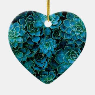 Succulent Plants Ceramic Heart Ornament