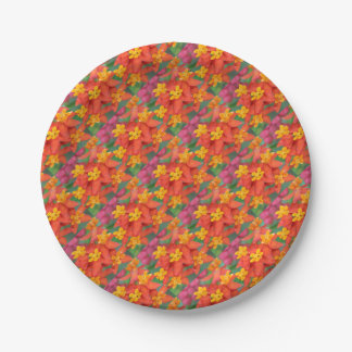 Succulent Red and Yellow Flower Echeveria Paper Plate