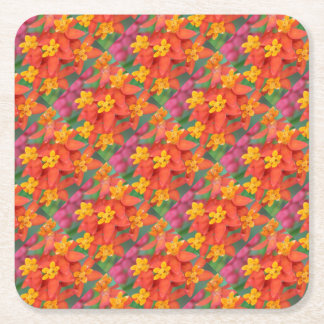 Succulent Red and Yellow Flower Echeveria Square Paper Coaster