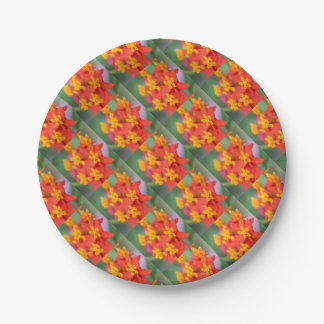 Succulent Red and Yellow Flower III Paper Plate