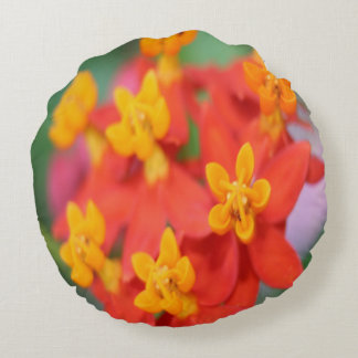 Succulent Red and Yellow Flower III Round Pillow