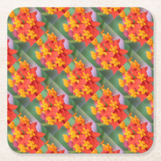 Succulent Red and Yellow Flower III Square Paper Coaster
