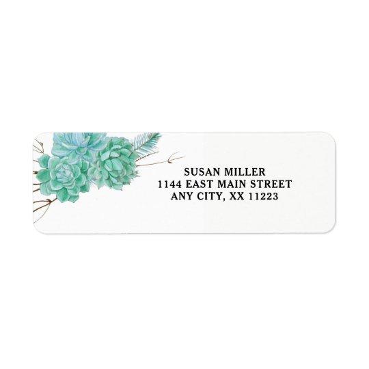 Succulent return address label 3961