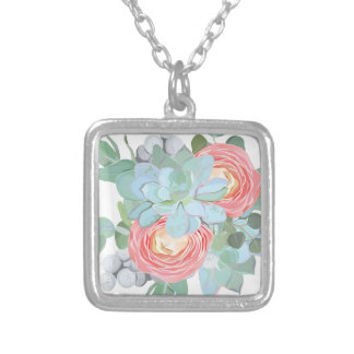 Succulent Silver Plated Necklace