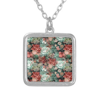 Succulent Succulents Silver Plated Necklace