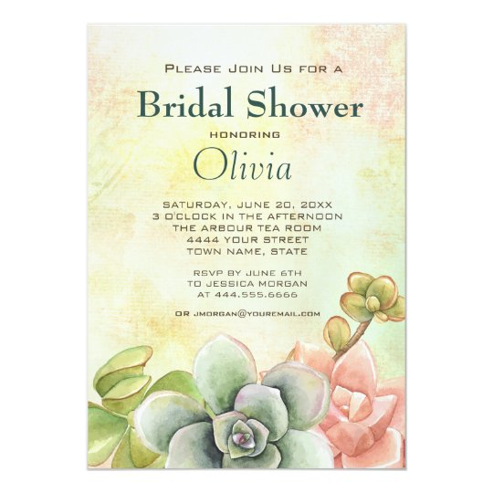 Succulent Watercolor Floral Bridal Shower Card