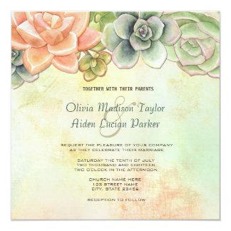 Succulent Watercolor Floral Wedding Invitation