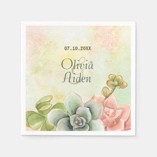 Succulent Watercolor Floral Wedding Napkin