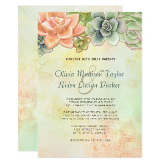 Succulent Watercolor Floral Wedding Peach Card