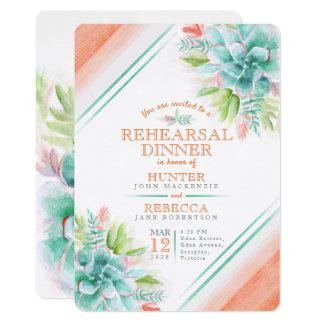 Succulent watercolor green orange rehearsal dinner card