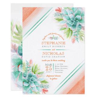 Succulent watercolor green orange wedding invites