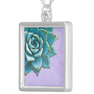 Succulent Watercolor Lavender Lace Silver Plated Necklace