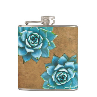 Succulent Watercolor on Rustic Brown Hip Flask