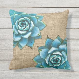 Succulent Watercolor on Tan Burlap Throw Pillow