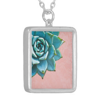 Succulent Watercolor Pink Lace Silver Plated Necklace