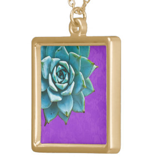 Succulent Watercolor Purple Lace Gold Plated Necklace
