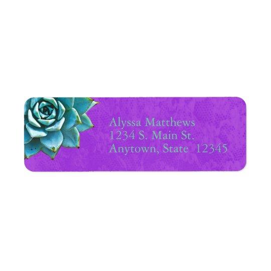 Succulent Watercolor Purple Lace Return Address Label