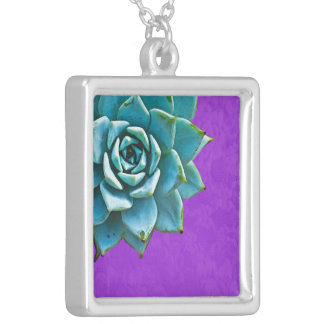 Succulent Watercolor Purple Lace Silver Plated Necklace