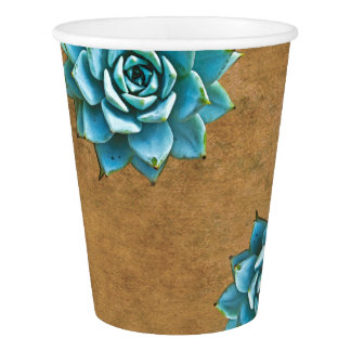 Succulent Watercolor Rustic Brown Paper Cup