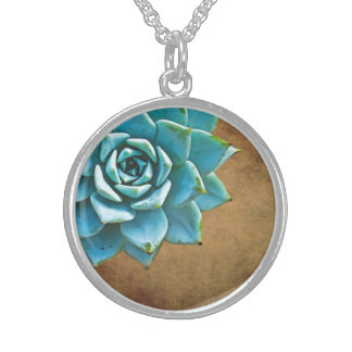 Succulent Watercolor Rustic Brown Sterling Silver Necklace