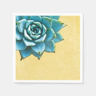 Succulent Watercolor Yellow Lace Napkin