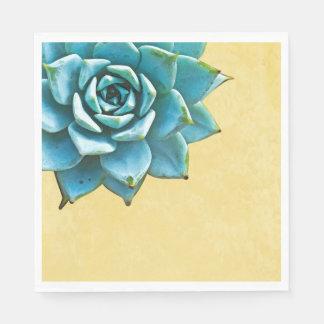 Succulent Watercolor Yellow Lace Paper Napkin