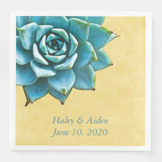 Succulent Wedding Engagement Watercolor Yellow Paper Dinner Napkin