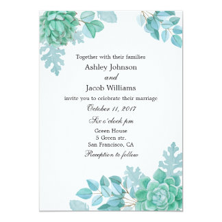 Succulent wedding invitation. Mint invite floral