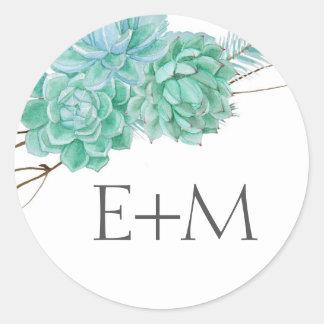 Succulent Wedding monogram envelope seals