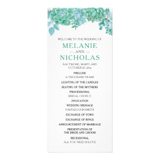 Succulent Wedding Program 3973