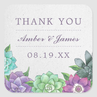 Succulent Wedding Thank You Stickers | Lavender