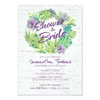 Succulents and Birch Wreath Bridal Shower Card