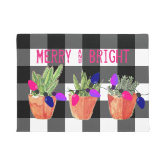 Succulents and Christmas Lights Doormat