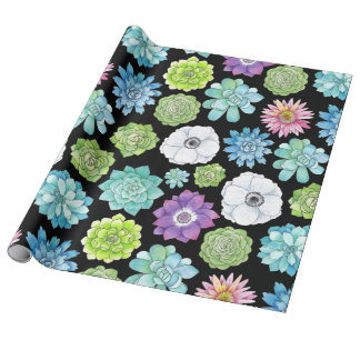 Succulents and Flowers Wrapping Paper