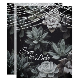 Succulents and Lights Save the Date Wedding Invite