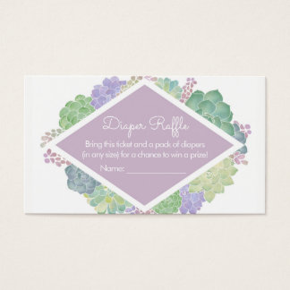 Succulents Baby Shower Purple Diaper Raffle Ticket