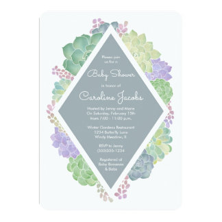 Succulents Baby Shower Slate Blue Invitation