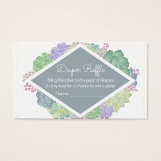 Succulents Baby Shower Slate Diaper Raffle Ticket