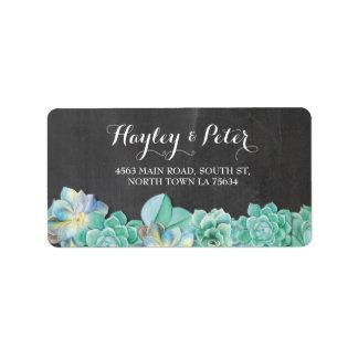 Succulents Cream Elegant Chalk Address Labels
