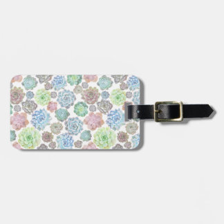 Succulents design luggage tag