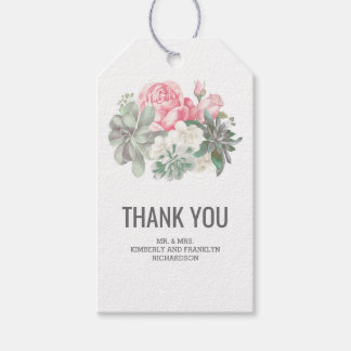 Succulents Elegant Floral Pink Wedding Gift Tags