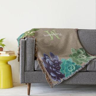 Succulents Faux Burlap - Personalized Throw Blanket