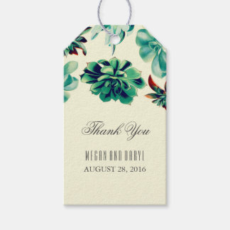Succulents Floral Teal Wedding Gift Tags