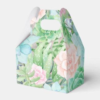 Succulents Flowers   Gorgeous Watercolor Wedding Favor Boxes