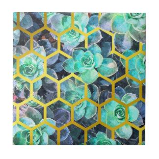 Succulents Geometric Modern Illustration Tile